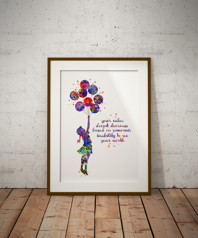 Balloon Girl Quote Watercolor Print Wall Art