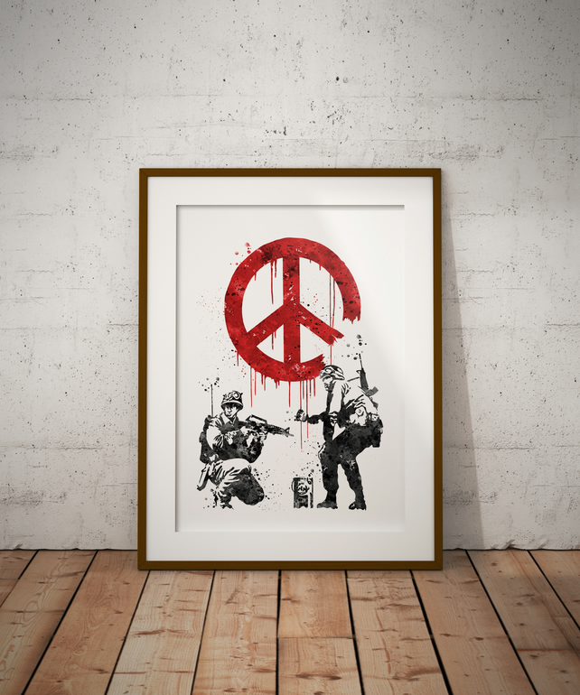 Banksy Soldier Black And White Watercolour Print Wall Art