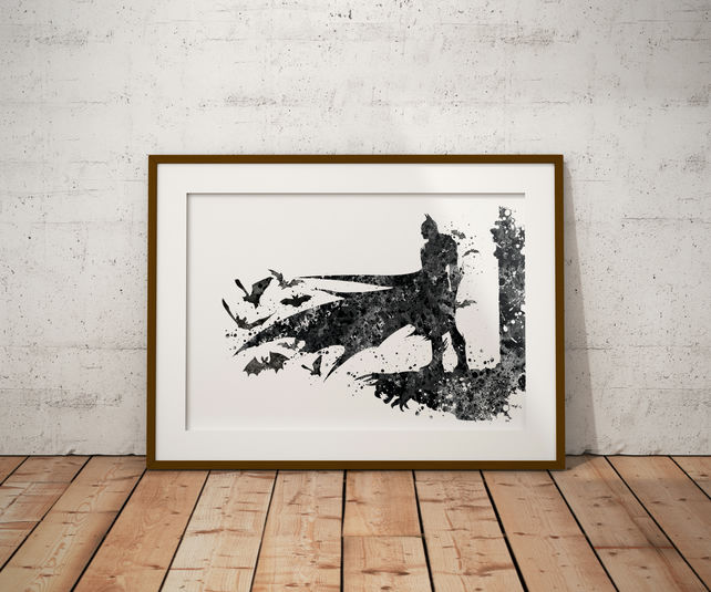 Batman New Watercolour Print Wall Art