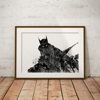 Batman 2 Watercolour Print Wall Art
