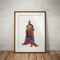 Batman 4 Watercolour Print Wall Art