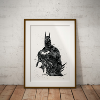 Batman 465 Black And White Watercolour Print Wall Art