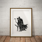Batman And Cat Woman Black And White Watercolour Print Wall Art