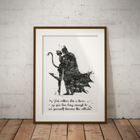 Batman And Cat Woman Quote Black And White Watercolour Print Wall Art