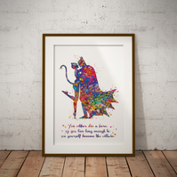 Batman And Cat Woman Quote Watercolour Print Wall Art