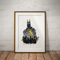 Batman Gotham Watercolour Print Wall Art