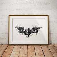 Batman Logo Black And White Watercolour Print Wall Art