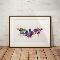 Batman Logo Watercolour Print Wall Art