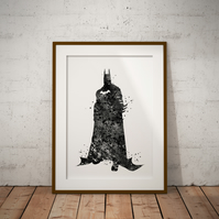 Batman 6 Watercolour Print Wall Art