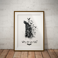 Batman Quote Watercolour Print Wall Art