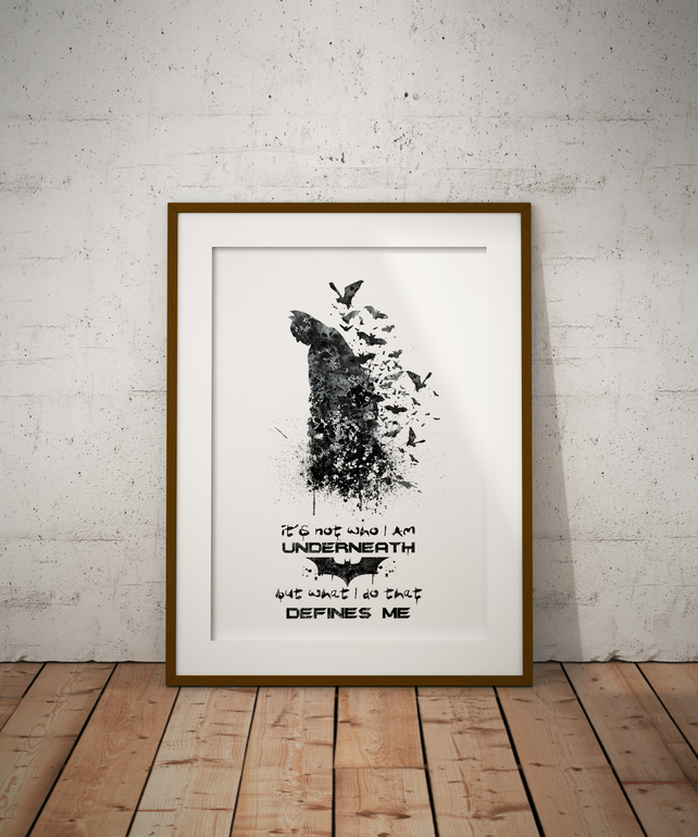 Batman Quote 2 Watercolour Print Wall Art