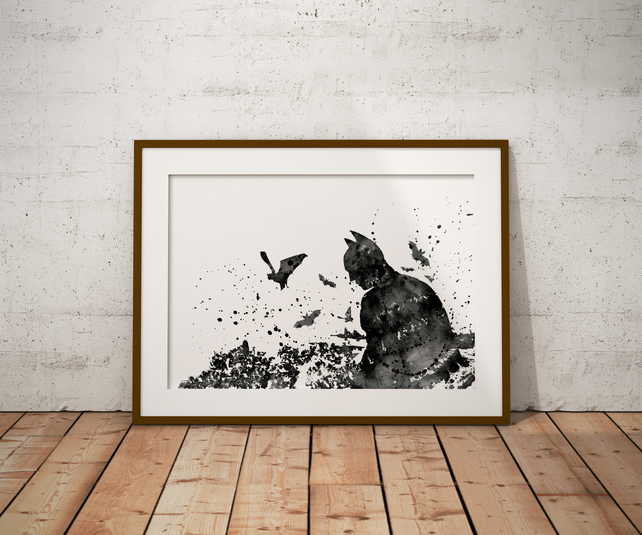 Batman Watercolour Print Wall Art