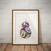 BB8 Watercolour Print Wall Art