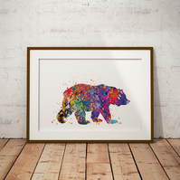 Bear Watercolour Print Wall Art