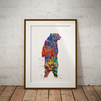 Bear Roar Watercolour Print Wall Art