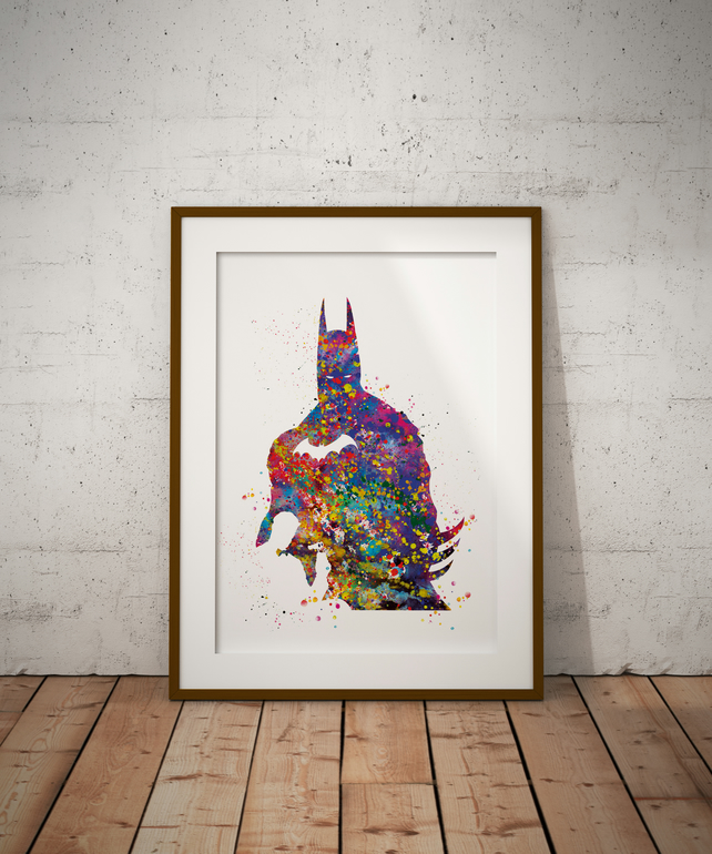 Batman 465 Watercolour Print Wall Art