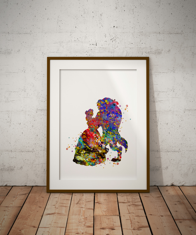 Beauty And The Beast Watercolour Print Wall Art
