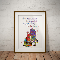 Beauty And The Beast Quote Watercolour Print Wall Art