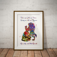 Beauty And The Beast Quote 2 Watercolour Print Wall Art