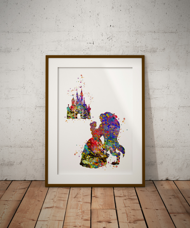 Beauty And The Beast And Castle Watercolour Print Wall Art