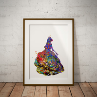 Belle Watercolour Print Wall Art