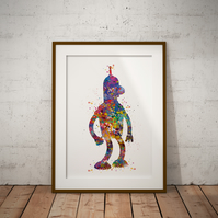 Bender Futurama 2 Watercolour Print Wall Art