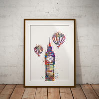 Big Ben Watercolour Print Wall Art