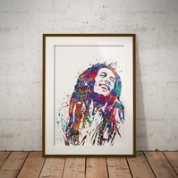 Bob Marley Watercolour Print Wall Art