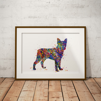 Boston Terrier Watercolour Print Wall Art