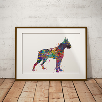 Boxer Watercolour Print Wall Art