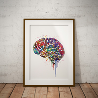 Brain Watercolour Print Wall Art