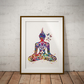 Buddha Butterfly Watercolour Print Wall Art