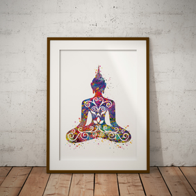 Buddha Floral Watercolour Print Wall Art