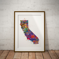 California No Heart Watercolour Print Wall Art