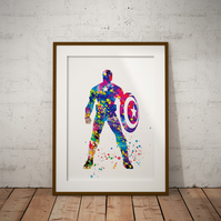 Captain America 2 Watercolour Print Wall Art