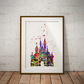 Castle Watercolour Print Wall Art