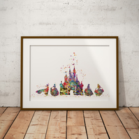 Castle And Princess Watercolour Print Wall Art