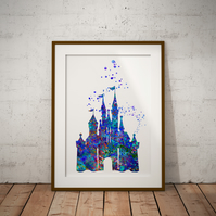 Castle Blue Watercolour Print Wall Art