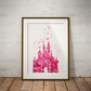 Castle Pink Watercolour Print Wall Art