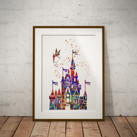 Castle Quote Watercolour Print Wall Art
