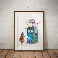 Alice Tardis in Wonderland Cheshire Cat Watercolor Print Wall Art