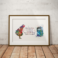 Alice in Wonderland Tardis Quote 5  Watercolor Print Wall Art