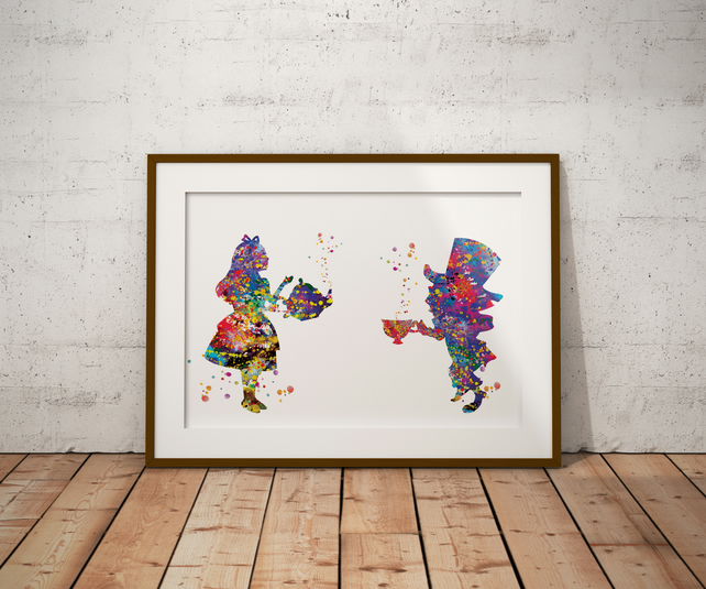 Alice in Wonderland Mad Hatter Watercolor Print Wall Art