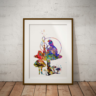 Alice in Wonderland Caterpillar Watercolor Print Wall Art