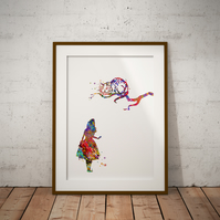 Alice in Wonderland Cheshire cat Watercolor Print Wall Art