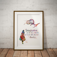 Alice in Wonderland Cheshire Cat Quote Watercolor Print Wall Art