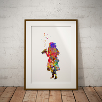 Alice in Wonderland Drink Me Watercolor Print Wall Art