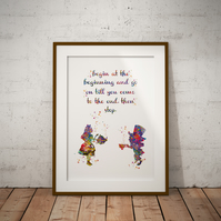 Alice in Wonderland Mad Hatter Quote 2 Watercolor Print Wall Art