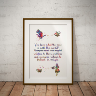 Alice in Wonderland Quote 2 Watercolor Print Wall Art