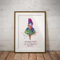 Alice in Wonderland Quote 3 Watercolor Print Wall Art